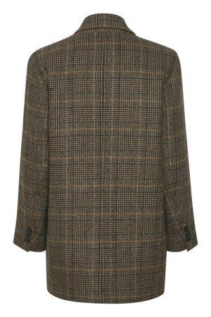 Brown check rutet kraftig oversized blazer med meida fór Gestuz - paola jacket