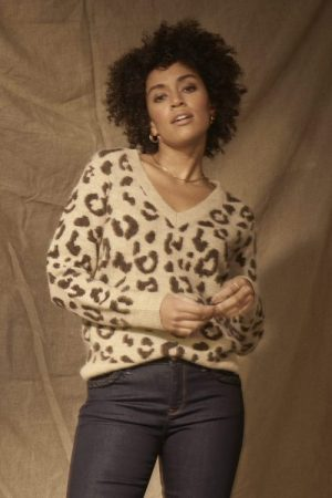 Leopardmønstret ull/mohair v-genser Mos Mosh - 139640 soffia leo knit