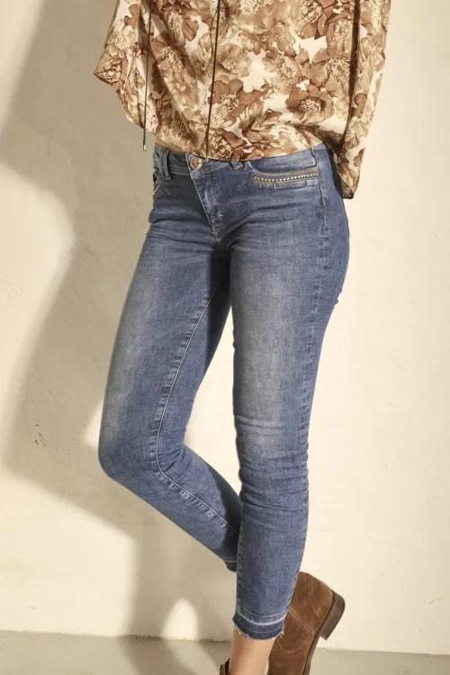 Smal jeans med råkant nederst og nagler ved lomme Mos Mosh - 140260 sumner wood jeans