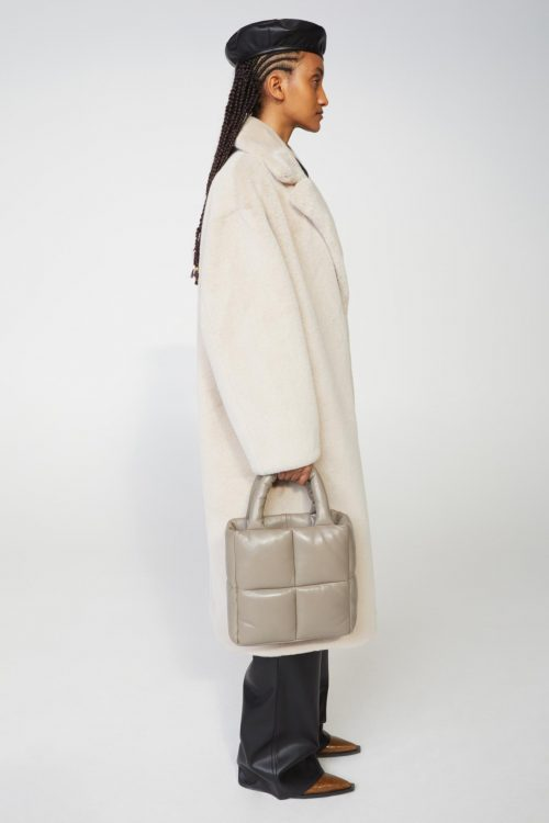Ecru oversized fuskepels Stand Studio - 61122-9070 maria coat faux fur soft teddy