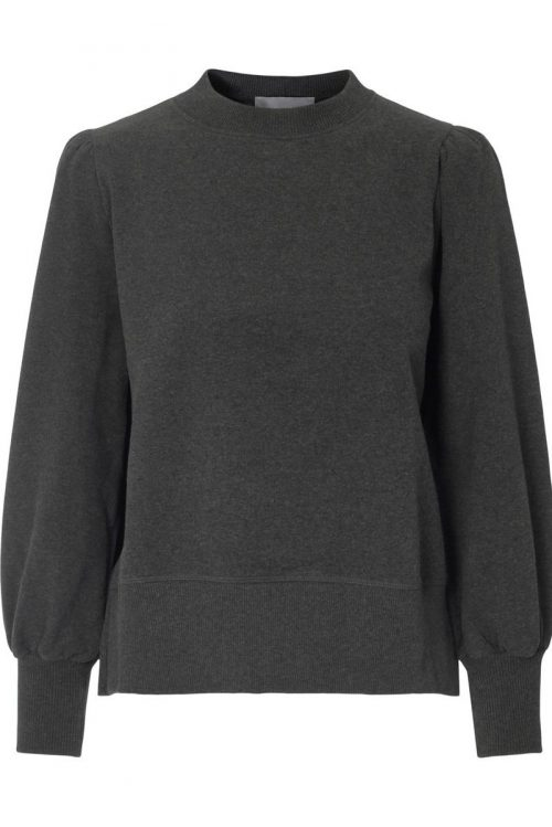 Dark grey melange organisk bomull collage genser med pufferm Ella&Il - sarena sweater