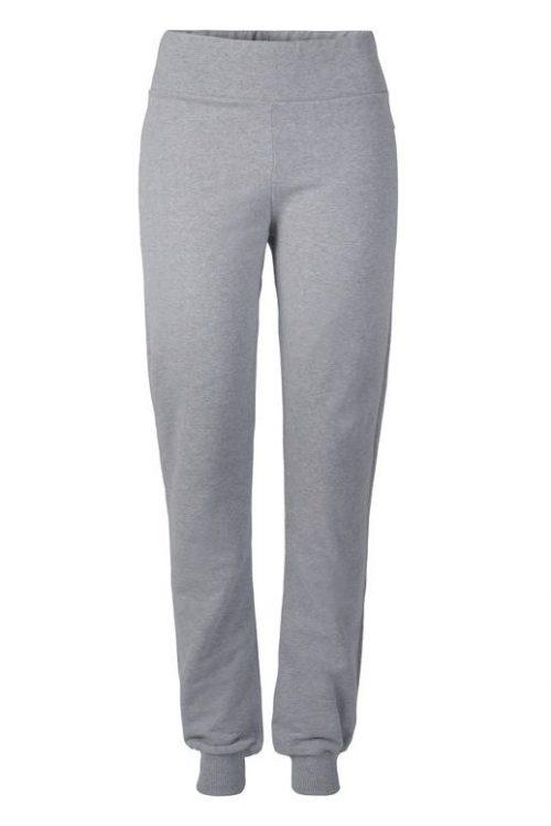 Dark grey melange (ikke lys grå) organisk bomull collage bukser med smal strikk nederst Ella&Il - bibbi pants