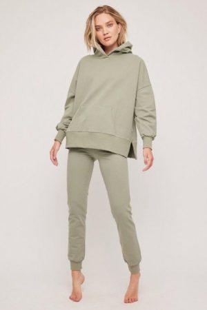 Dark grey melange organisk bomull collage bukser med smal strikk nederst Ella&Il - bibbi pants