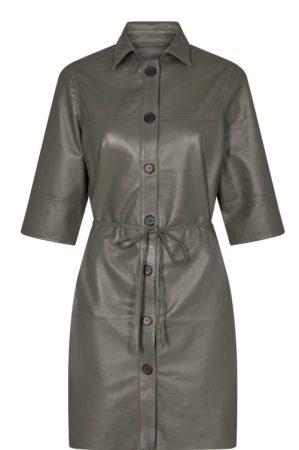 Grønn skinnskjorte / skinnkjole Mos Mosh - 139530 beatrice long leather shirt