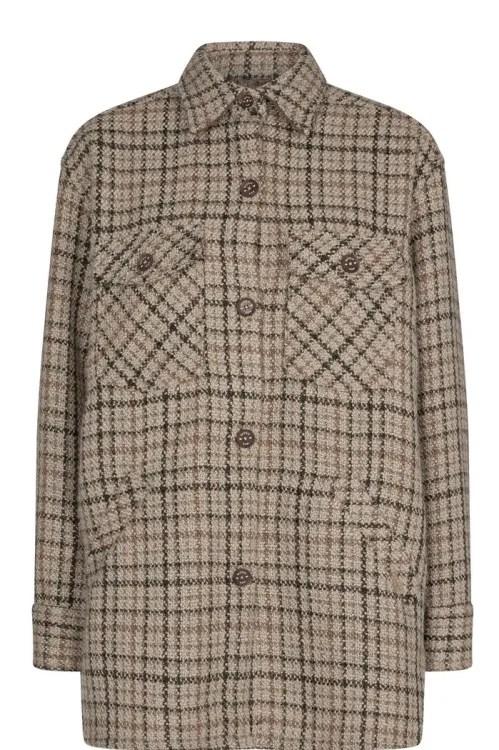 Beigerutet ullmix ytterjakke Mos Mosh - 139610 manning check shirt