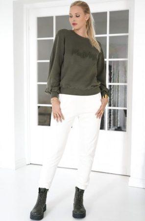 Grønn collage genser Mos Mos - 139200 ambon ls sweatshirt Ecru bomull/visksose sweatpant med fleece Mos Mosh - 139300 cash glam sweatpant