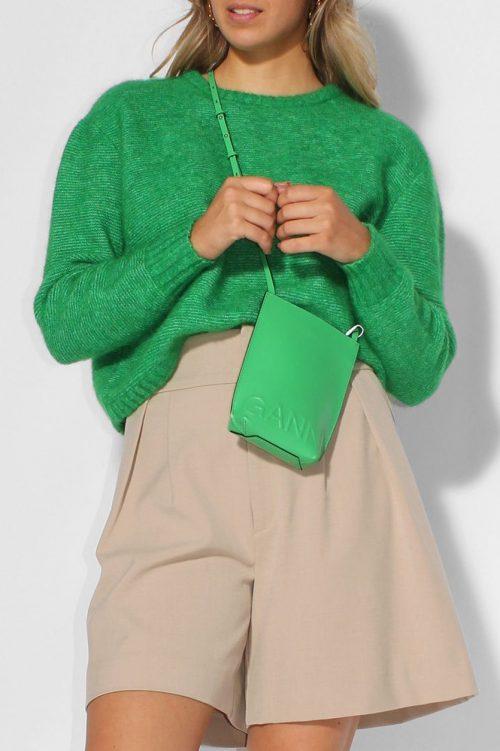Gressgrønn, sort eller gråmelert mohairmix kort genser American Vintage - zabi18h