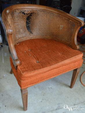 Refurbished Cane Back Barrel Chair   Ambient Wares Refurbished Upholstered Cane Back Barrel Chair   ambient wares