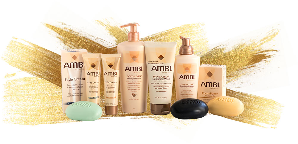 Ambi Skincare Products on splash of gold
