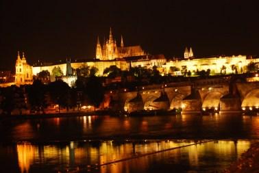 Prague Castle by night.