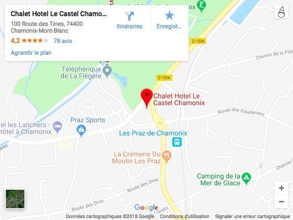 hotel le castel chamonix-mont-blanc localisation