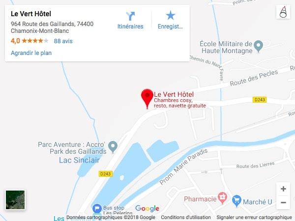 vert hotel chamonix-mont-blanc localisation