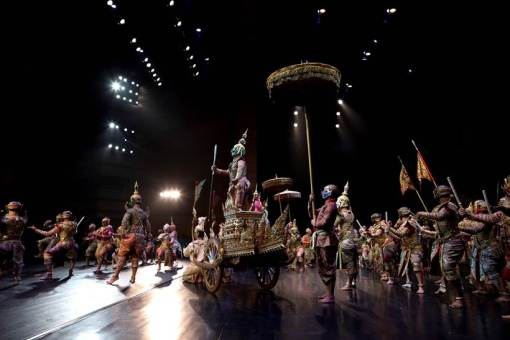 Dancers are seen on stage during a performance of masked theatre known as Khon at the Thailand Cultural Centre in Bangkok