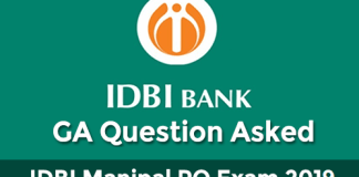 GA Questions asked in IDBI Assistant manager exam 2019