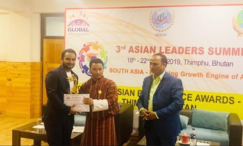Dr Gaurav Nigam conferred 'Innovative Research Excellence Award 2019' at Asian Leadership Summit, Bhutan