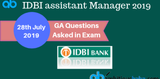 GA Ques asked in IDBI ASM 2019