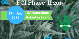 Ga questions asked in FCI Phase-2 2019