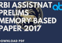 RBI Assistant Memory Based Paper by Ambitious Baba