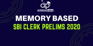 SBI Clerk Prelims Memory Based 2020