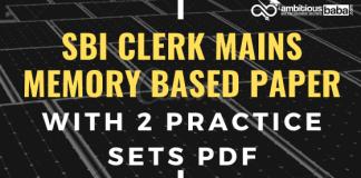 SBI Clerk Mains 2019 Memory based Blog Banner