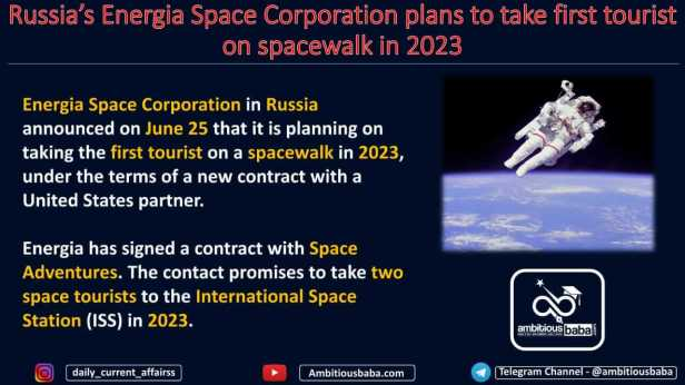 Russia's Energia Space Corporation plans to take first tourist on spacewalk in 2023