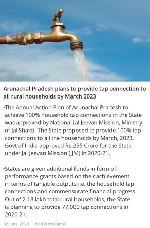 Arunachal Pradesh plans to provide tap connection to all rural households by March 2023