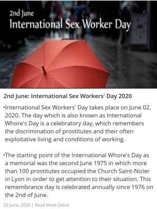 2nd June: International Sex Workers' Day 2020