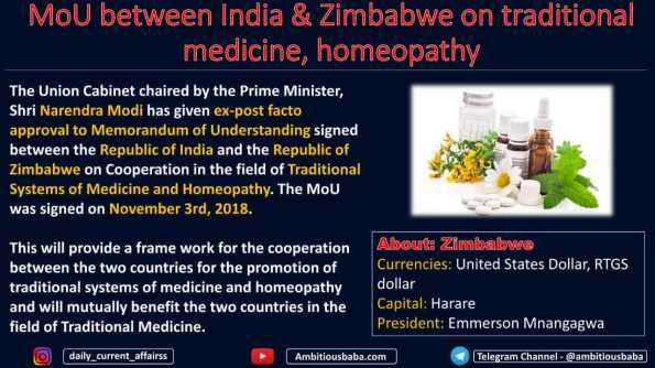 MoU between India & Zimbabwe on traditional medicine, homeopathy
