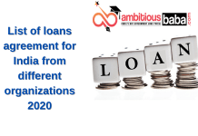 list of loan agreement for India from different organizations 2020