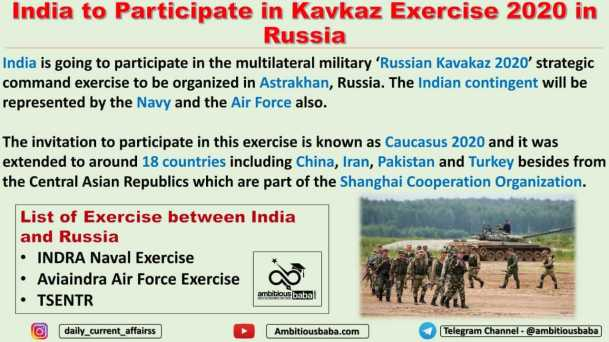 India to Participate in Kavkaz Exercise 2020 in Russia