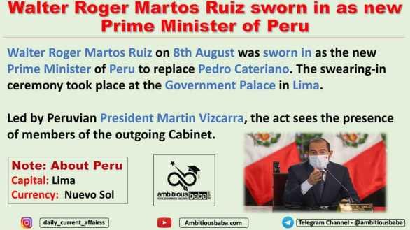 Walter Roger Martos Ruiz sworn in as new Prime Minister of Peru