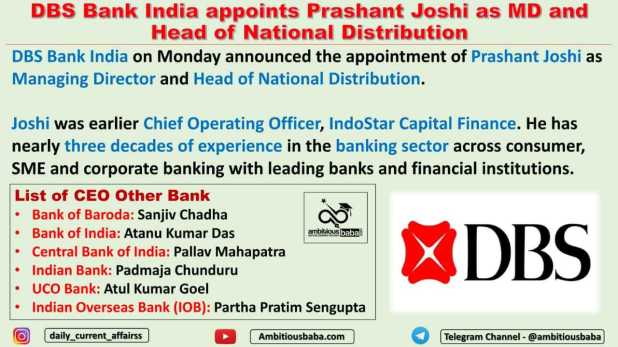 DBS Bank India appoints Prashant Joshi as MD and Head of National Distribution