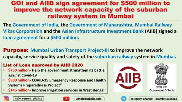 GOI and AIIB sign agreement for $500 million to improve the network capacity of the suburban railway system in Mumbai