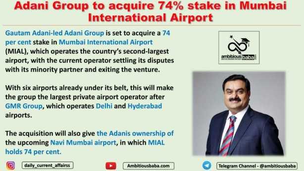 Adani Group to acquire 74% stake in Mumbai International Airport