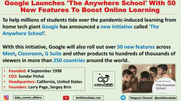 Google Launches 'The Anywhere School' With 50 New Features To Boost Online Learning