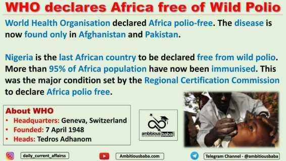 WHO declares Africa free of Wild Polio