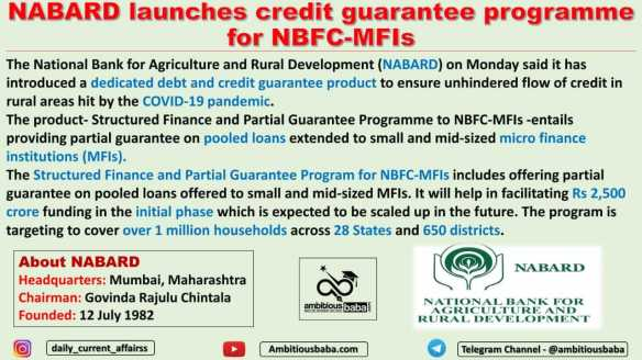 Nabard launches credit guarantee programme for NBFC-MFIs