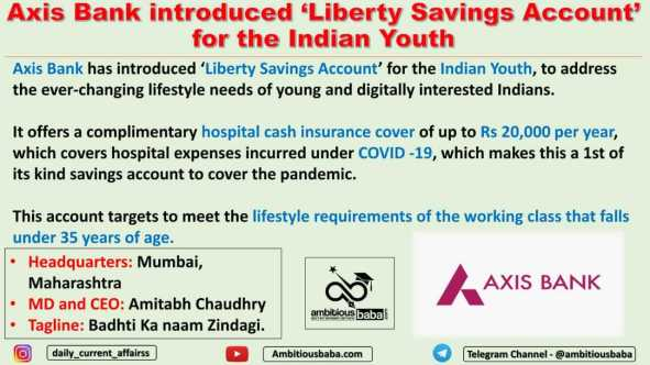 Axis Bank introduced 'Liberty Savings Account' for the Indian Youth