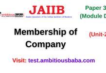 Membership of Company: Jaiib Paper 3 (Module D)