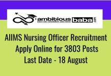 AIIMS for Nursing Officer Recruitment 2020 : 3803 Post check here