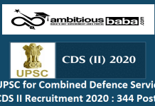 UPSC for Combined Defence Service CDS II Recruitment 2020 : 344 Post check here