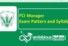 FCI Manager 2020 Syllabus & Exam Pattern