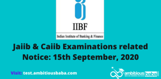 Jaiib & Caiib Examinations related Notice: 15th September, 2020