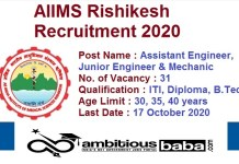 AIIMS Rishikesh for Assistant Engineer And Junior Engineer Recruitment 2020 : 31 Post check here