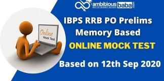 RRB PO Pre Memory based paper Online Mock test