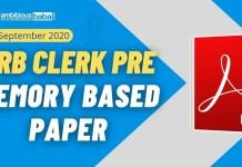 RRB Clerk Pre Memory based paper