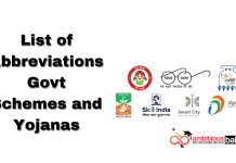 List of Abbreviations Govt Schemes and Yojanas