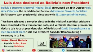 Luis Arce declared as Bolivia's new President