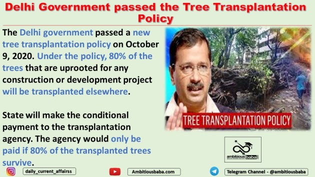 Delhi Government passed the Tree Transplantation Policy