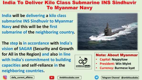 India To Deliver Kilo Class Submarine INS Sindhuvir To Myanmar Navy